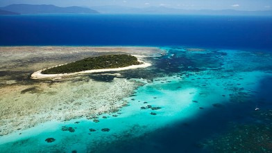 Aerial of Green Island, Great Barrier Reef Marine Park, Australia.