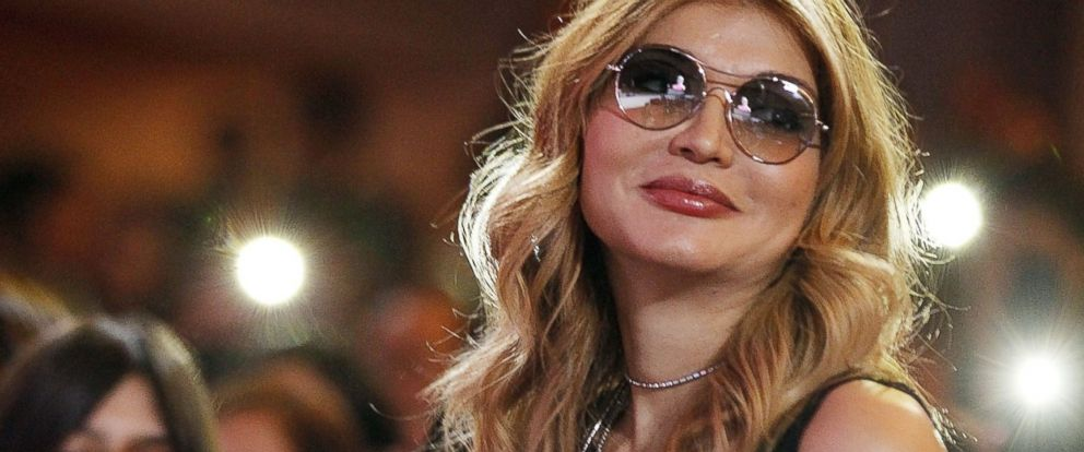 PHOTO: Gulnara Karimova chairwoman of the Board of Trustees Fund Forum applauds Russian Singer Valeria after her performance at Istiqlol Palace on Oct. 27, 2013 in Tashkent, Uzbekistan.