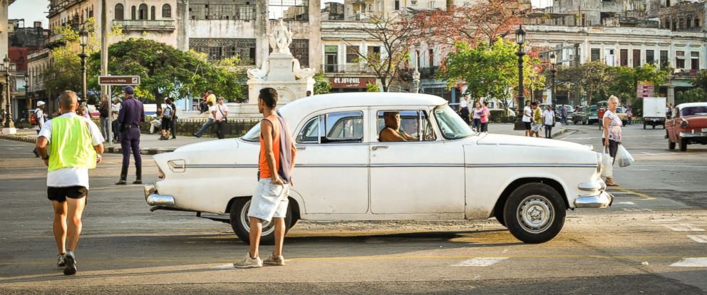 PHOTO: A driver waits for passengers in his old American car in Havana, Cuba on Jan. 20, 2015.