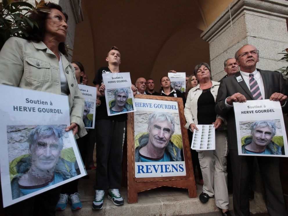 PHOTO: Demonstrators during a walk in support of Herve Gourdel, a French mountain guide who was seized on Sept. 21, 2014 evening while trekking in the Kabylie region of Algeria, in Saint-Martin-Vesubie, France, on Sept. 23, 2014.