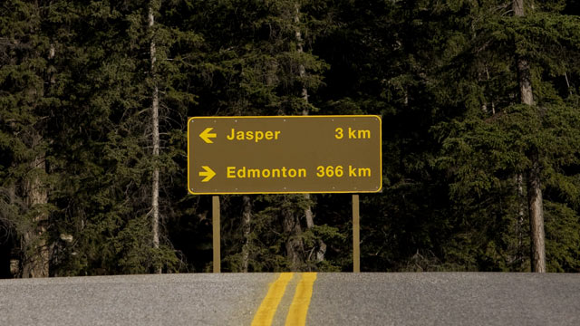 PHOTO: A sign for Highway 16 points to Edmonton an