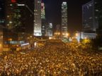 PHOTO: Protesters gather in the streets outside the Hong Kong Government Complex on Sept. 29, 2014 in Hong Kong.