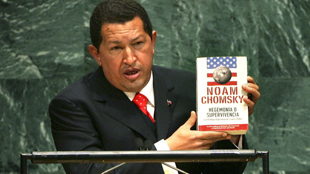 PHOTO: Venezuelan President Hugo Chavez holds up a book by Noam Chomsky &quot;Hegemony or Survival: America's Quest for Global Dominance&quot; while addressing the United Nations General Assembly, Sept. 20, 2006 at the UN in New York City.
