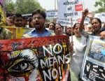PHOTO: Protestors shout anti-government and anti-police slogans during a demonstration against the rape of a five-year old girl, in front of police headquaters in New Delhi India, April 20, 2013.