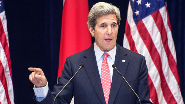 PHOTO: Secretary of State John Kerry delivers