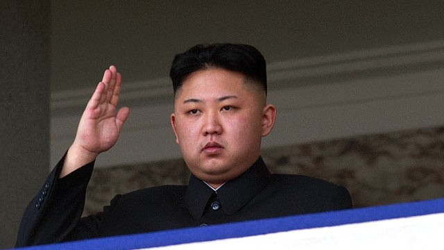 PHOTO: North Korean leader Kim Jong-Un saluting as he watches a military parade to mark 100 years since the birth of the country's founder and his grandfather, Kim Il-Sung, in Pyongyang, April 15, 2012.