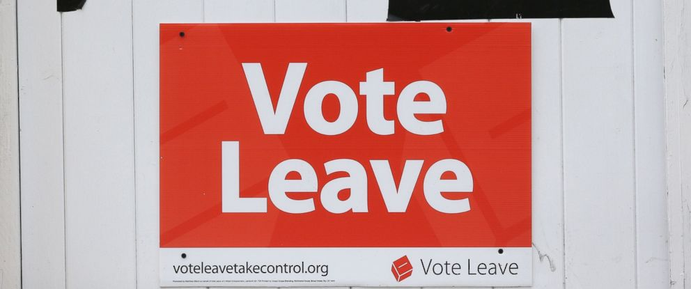 "PHOTO: ""Vote Leave"" posters are displayed on the gate of a house in Redcar, England, June 27, 2016. Britains historic decision to leave the 28-nation bloc has sent shockwaves through the political and economic fabric of the nation."