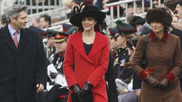 PHOTO: Kate Middleton, center, with her parents Carole and Michael attend the Sovereigns Parade at Sandhurst Military Academy, Dec. 15, 2006 in Surrey, England.