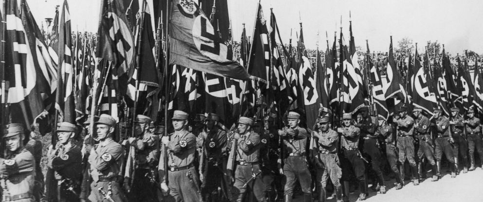 PHOTO: Nazis march at the Nuremberg Rally to mark the 6th Nazi Party Congress in Nuremberg, Germany, Sept. 9, 1934.