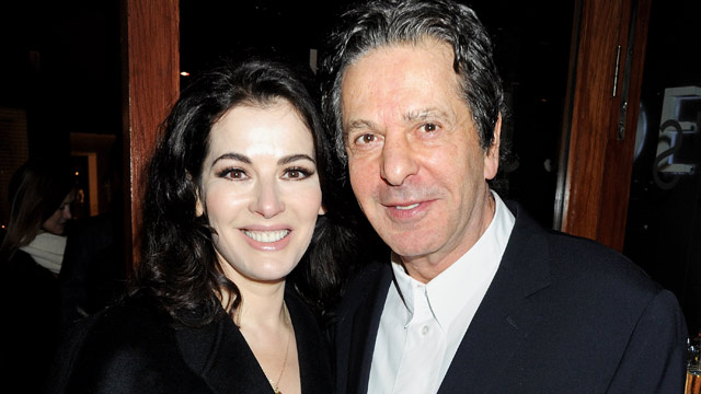 PHOTO: Nigella Lawson (L) and Charles Saatchi attend a dinner hosted by Joseph Group CEO Sara Ferrero and Vogue UK editor-at-large Fiona Golfar at Joes Restaurant on January 19, 2012 in London.