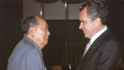 PHOTO: Chinese communist leader Chairman Mao Zedong (L) welcomes U.S. President Richard Nixon, at his house in Beijing in 1972.
