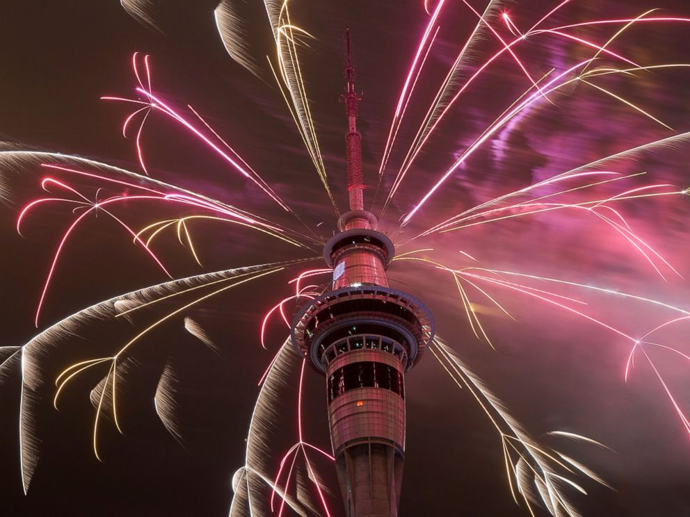 PHOTO: Firework display from the top of the Sky Tower to welcome the New Year on Jan. 1, 2015 in Auckland, New Zealand.