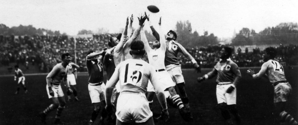 PHOTO: Teams from France and the United States play in the gold medal Rugby game in the 1924 Olympic Games in May 1924.