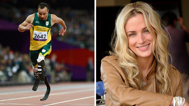 PHOTO: Oscar Pistorius, left, crosses the finish line to win the men's 200m T44 round 1 athletics event during the London 2012 Paralympic Games at the Olympic Stadium in London, Sept. 1, 2012. Reeva Steenkamp, right, in Johannesburg, South Africa.