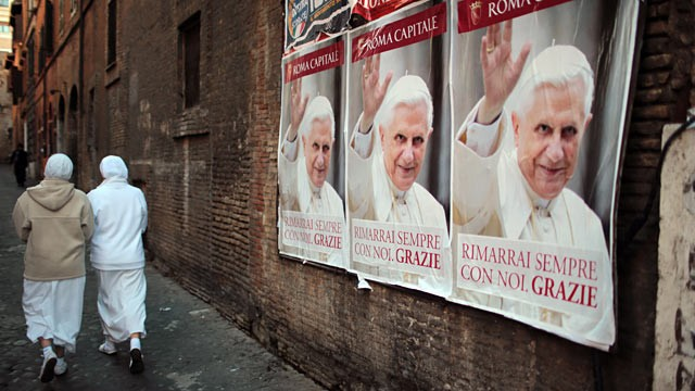 PHOTO:&nbsp;Posters bidding Pope Benedict XVI farewell