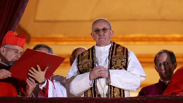 PHOTO: Newly elected Pope Francis I appears on the central balcony of St Peter's Basilica on March 13, 2013 in Vatican City, Vatican.