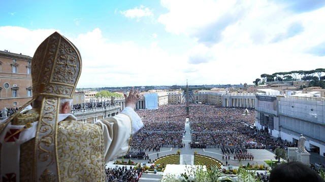 PHOTO: Pope Benedict XVI delivers his 'Urbi et Orbi' message and blessing from the central balcony of St. Peter's Basilica at the end of the Easter Mass, April, 2012, in Vatican City, Vatican.