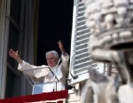 PHOTO: Pope Benedict XVI delivers his Angelus Blessing from the window of his private studio overlooking St. Peters Square on Feb. 17, 2013 in Vatican City.
