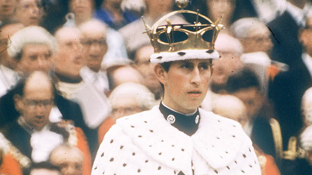 PHOTO: Prince Charles, the Prince of Wales, is shown in his investiture robes at Caernarvon Castle, July 1, 1969.