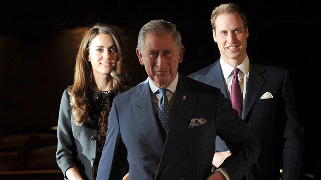 PHOTO: Britain?s Prince William, right, Catherine, Duchess of Cambridge, and Prince Charles arrive at a fundraising concert hosted by Gary Barlow at the Royal Albert Hall in London on Dec. 6, 2011.
