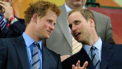 PHOTO: Prince Harry and Prince William enjoy the atmosphere ahead of the 2010 FIFA World Cup South Africa Group C match between England and Algeria in Cape Town, South Africa.
