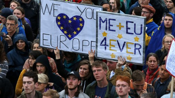 PHOTO: Demonstrators hold up Pro-Europe placards at an anti-Brexit protest in Trafalgar Square in London, June 28, 2016.