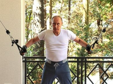 PHOTO: Russian President Vladimir Putin works out at Bocharov Ruchei residence in Sochi, Russia, Aug. 30, 2015.
