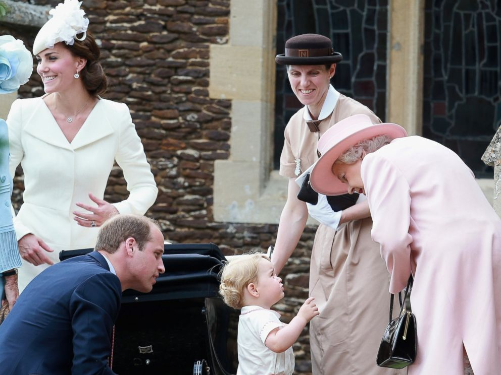 PHOTO: Catherine, Duchess of Cambridge, Prince William, Princess Charlotte and Prince George, Queen Elizabeth II and a nanny at the Church of St Mary Magdalene for the Christening of Princess Charlotte of Cambridge on in Kings Lynn, England.