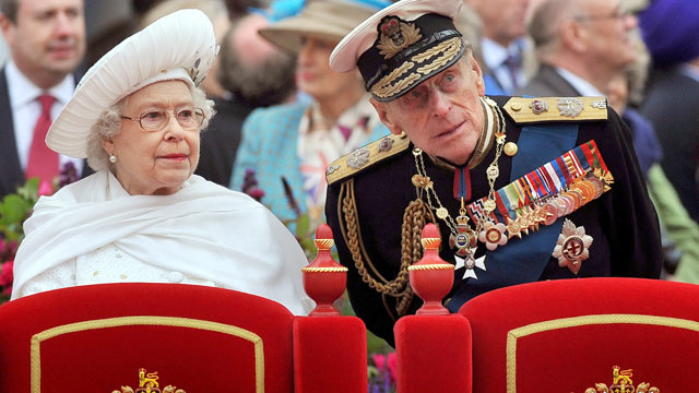 PHOTO: Queen Elizabeth and Prince Philip, Duke of Edinburgh, are seen standing on board the Spirit of Chartwell during the Thames Diamond Jubilee Pageant on the River Thames in London, June 3, 2012.