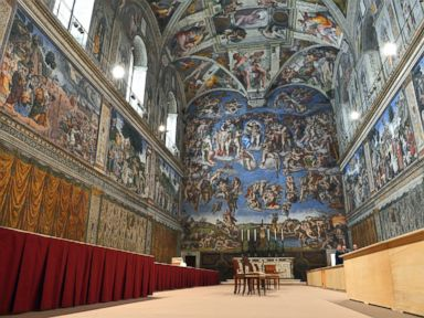 PHOTO: This March 9, 2013 file photo shows a view inside the Sistine chapel being prepared for a cardinals conclave at the Vatican.