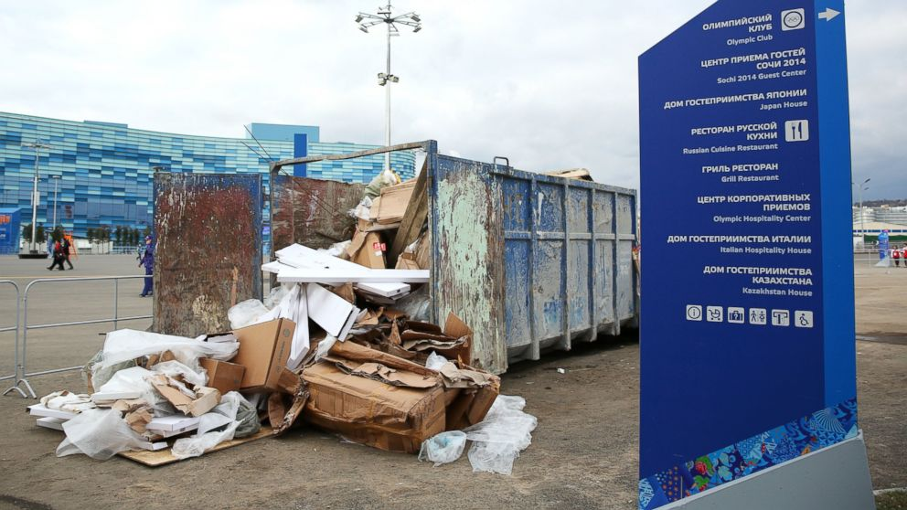 PHOTO: Garbage bins overflow with litter at the site of the Sochi 2014 Winter Olympics at the Olympic Park, Feb. 5, 2014 in Sochi, Russia.