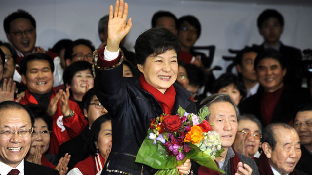 PHOTO: South Korean President-elect Park Geun-Hye, of the Ruling Saenuri Party celebrates with her party members after she is declared the winner of the presidential elections, Dec.19, 2012 in Seoul, South Korea.