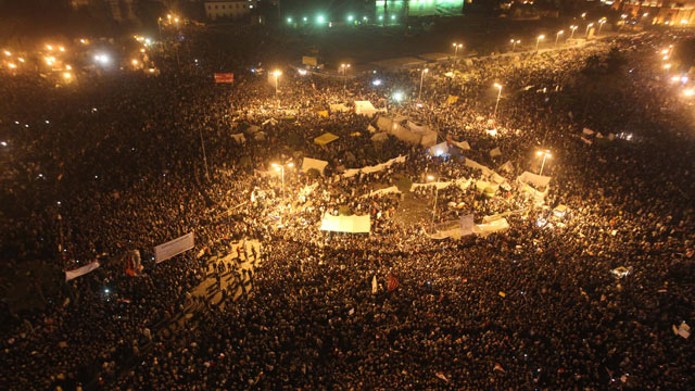 PHOTO: Tens of thousands of Egyptian protesters pack Cairos landmark Tahrir Square, Nov. 22, 2011 as clashes between police and protesters demanding democratic change entered a fourth day.