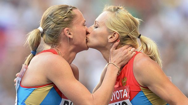 gty tatyana firova kseniya ryzhova ll 130820 16x9 608 Russian Runners Deny Podium Kiss Was Protest Against Anti gay Law