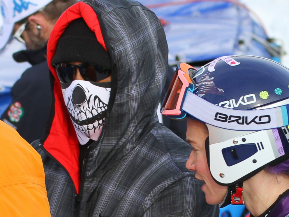 PHOTO: Tiger Woods and Laurenne Ross of The USA stand in the finish area during the FIS Alpine Ski World Cup Womens Super G on Jan. 19, 2015 in Cortina dAmpezzo, Italy.