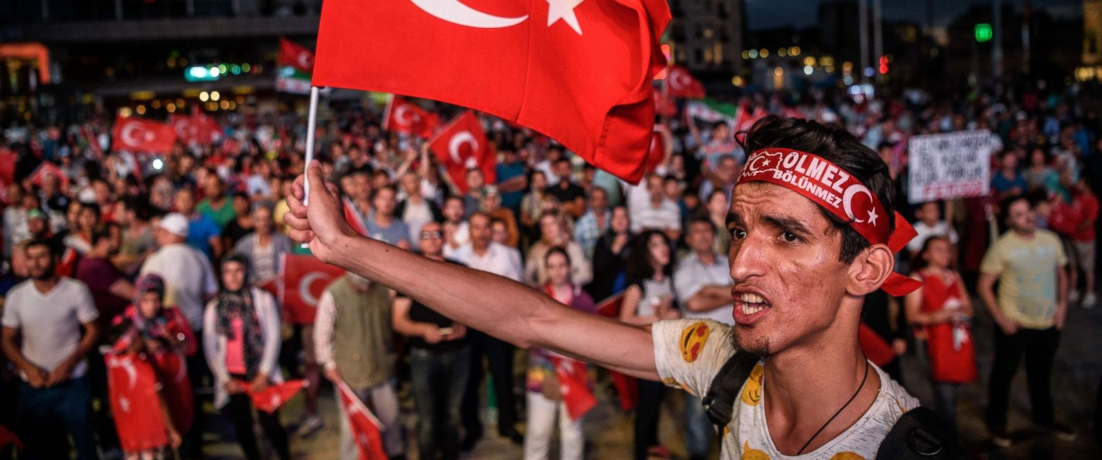 PHOTO: Erdogan supporters gather at Taksim square on July 20, 2016 during a rally in Istanbul, following the failed military coup attempt of July 15.