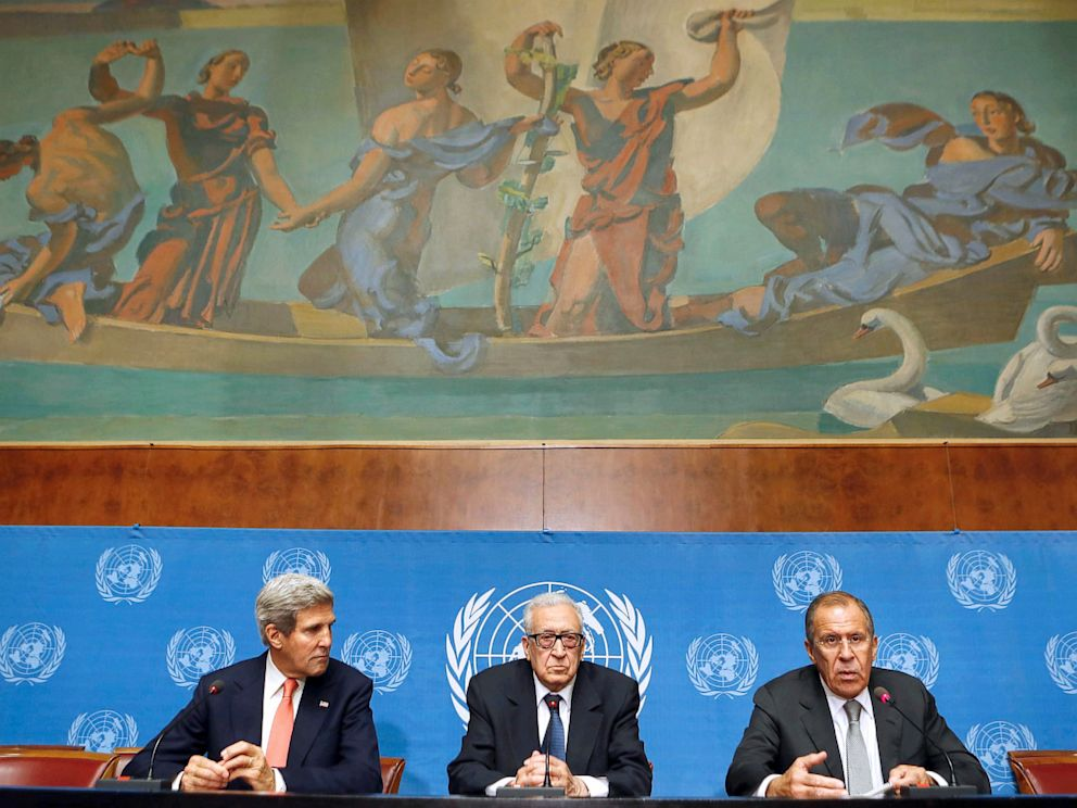 PHOTO: Russian Foreign minister Sergey Lavrov speaks on Sept. 13, 2013 during a press conference with United Nations-Arab League special envoy for Syria Lakhdar Brahimi (C) and US Secretary of State John Kerry at the UN headquarters in Geneva.