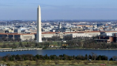 PHOTO: An aerial view of the Washington Monument in Washington, DC.