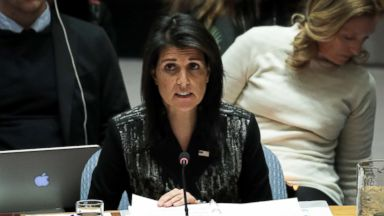 'PHOTO: U.S. Ambassador to the United Nations Nikki Haley speaks during a U.N. Security Council meeting concerning the situation in Iran, Jan.  5, 2018, in New York.' from the web at 'http://a.abcnews.com/images/International/haley-gty-er-180105_16x9t_384.jpg'