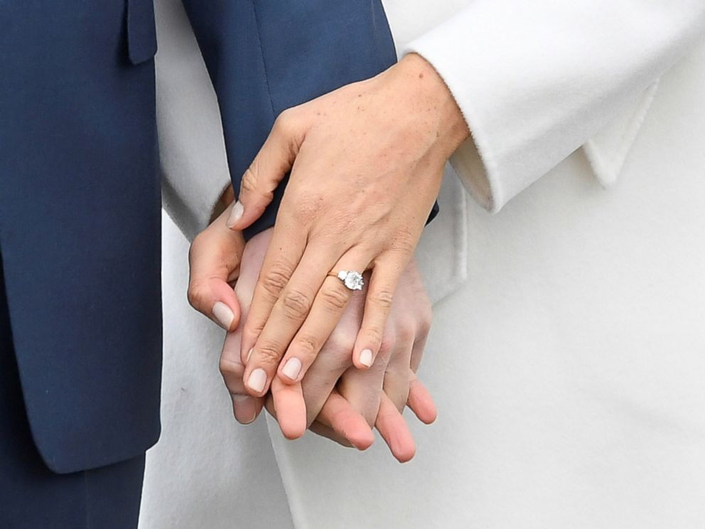 PHOTO Britains Prince Harry Holds Hands With Meghan Marklem Wearing An Engagement Ring In The