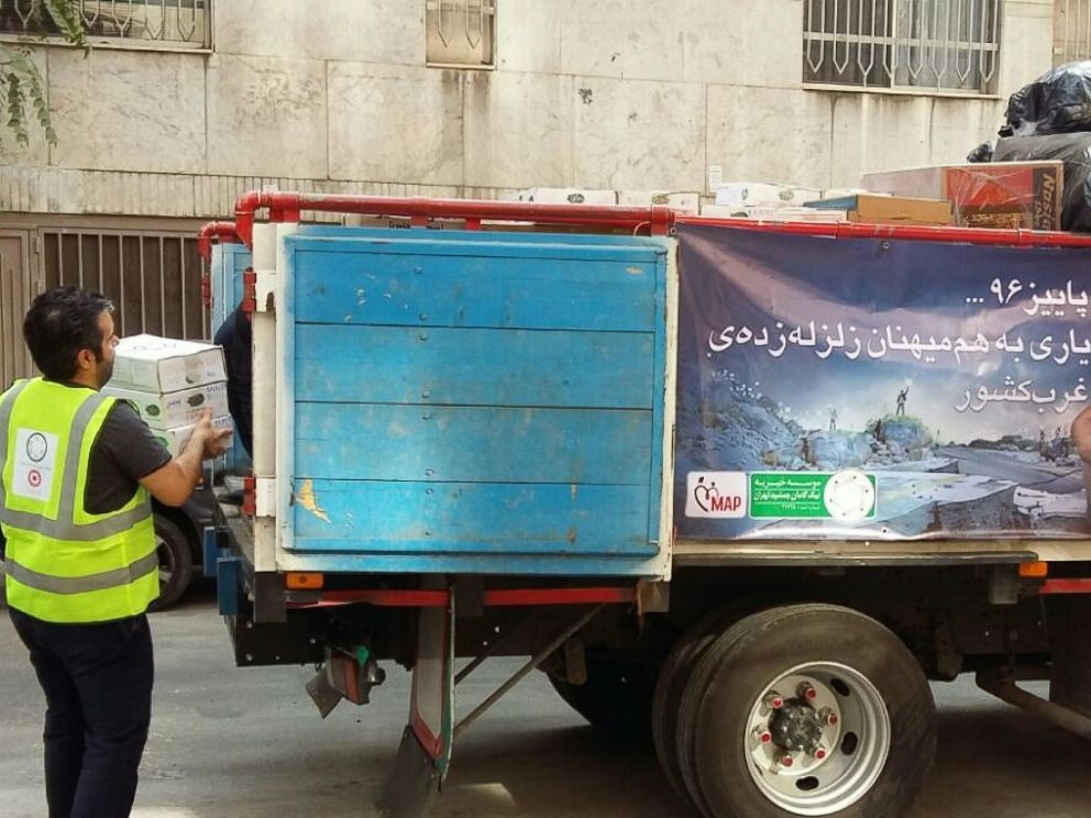A truck is ready to send the aid packages to the earthquake zones in Iran.