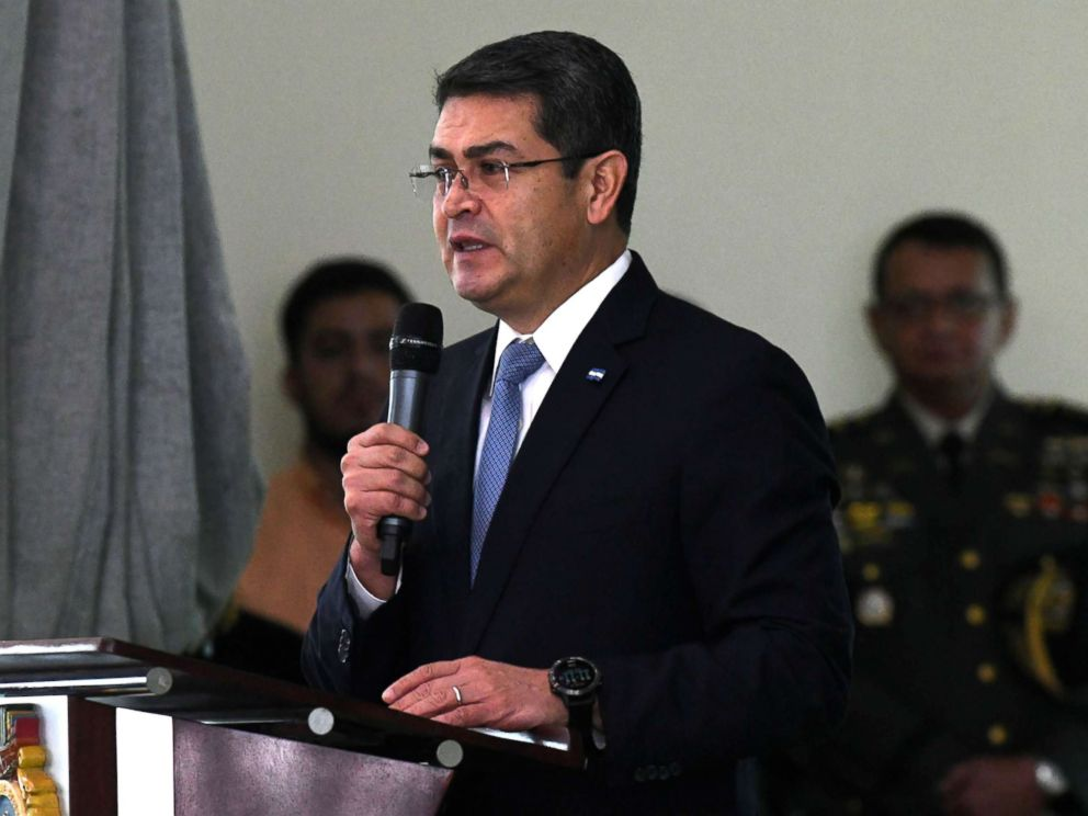 PHOTO: A file photo shows Honduran reelected President Juan Orlando Hernandez, taken on December 21, 2017, delivering a speech during the Honduran Armed Forces command handover ceremony in Tegucigalpa.