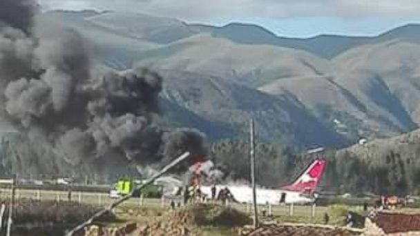 PHOTO:  Video appears to show a passenger jet on fire at the Francisco Carle Airport in Jauja, Peru.