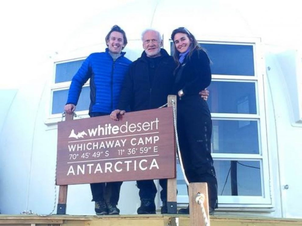 PHOTO: Buzz Aldrin is pictured with Patrick and Robyn Woodhead, the CEO and COO, respectively, of White Desert Antarctica, the tour company the former astronaut traveled to the South Pole with.