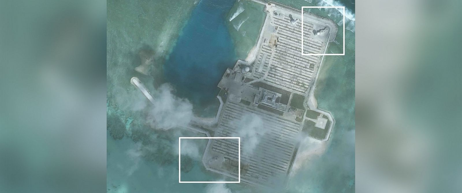 PHOTO: Satellite images taken in November 2016 appear to show evidence of Chinese military defenses on artificial islands in the South China Sea. Pictured: Nov. 11, 2016.