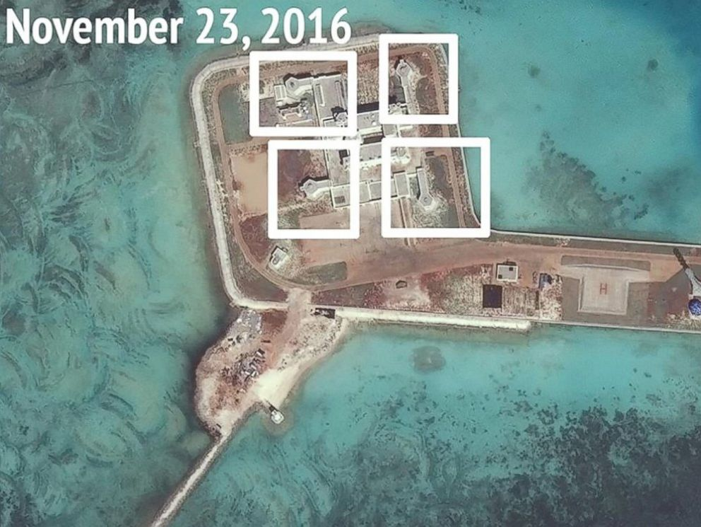 PHOTO: Satellite images taken in November 2016 appear to show evidence of Chinese military defenses on artificial islands in the South China Sea. Pictured: Nov. 23, 2016.