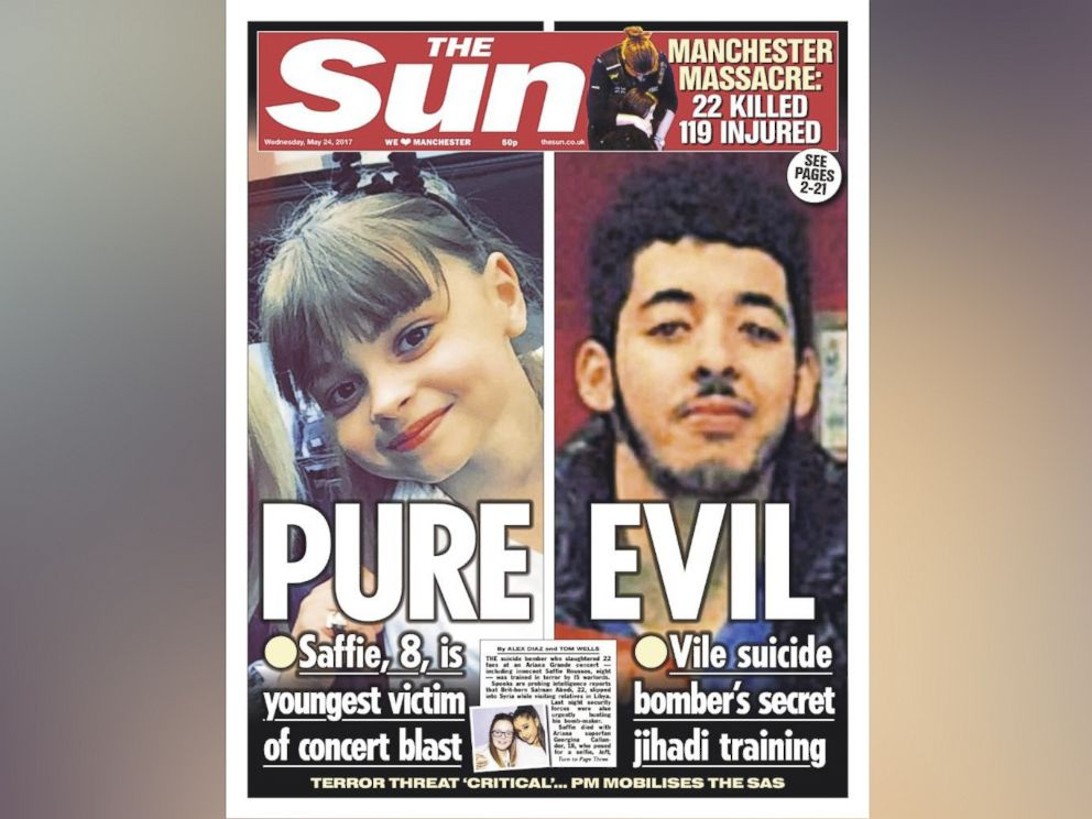 PHOTO: The cover of the May 24, 2017 issue of the British newspaper The Sun, features a photo of suspected attacker Salman Abedi.