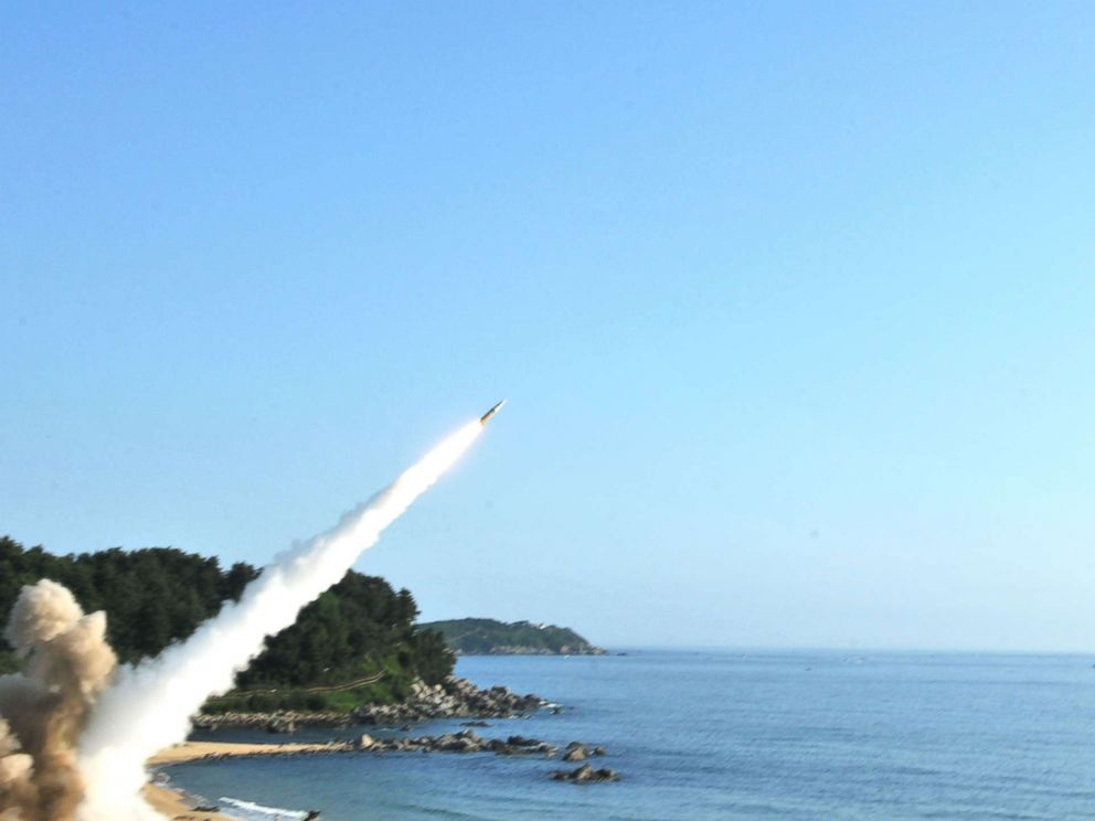 PHOTO: The U.S. Army released images from the U.S. and South Koreas missile launches into the Sea of Japan in response to the North Korean missile launch, July 4, 2017.
