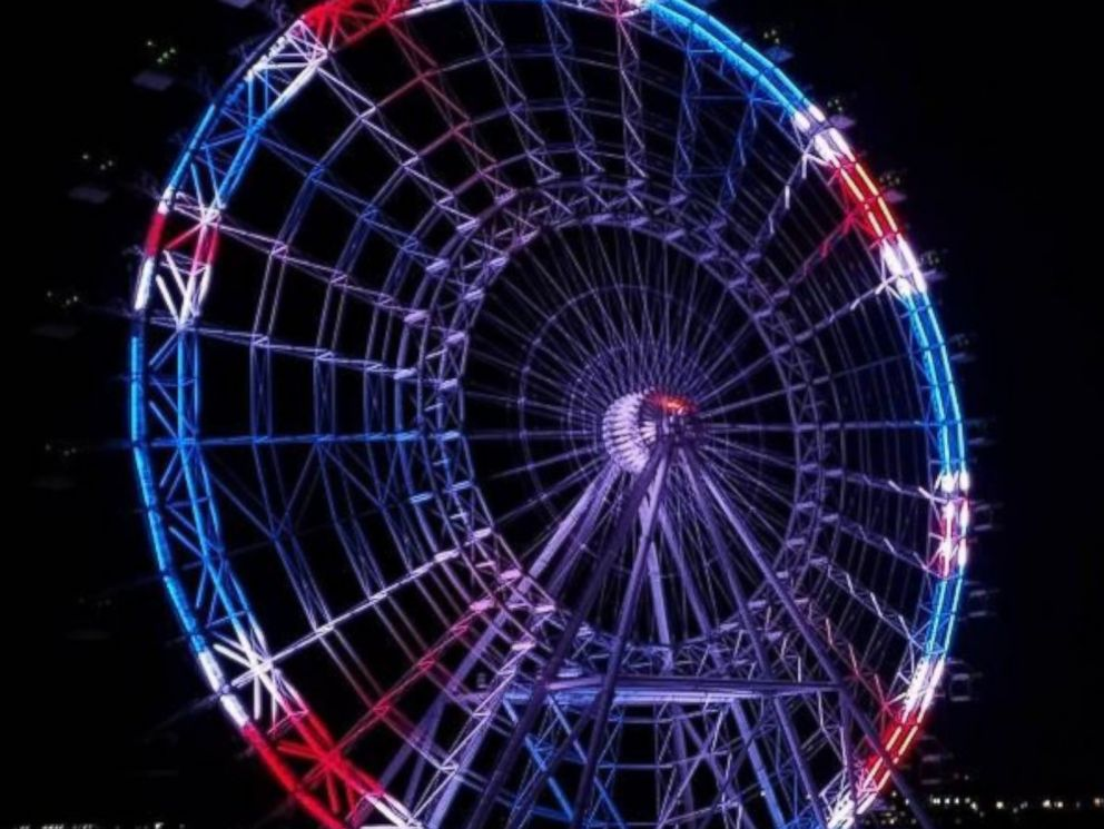 PHOTO: The Orlando Eye in Orlando, Florida, is lit up in red, white and blue -- the colors of the Union Jack -- on March 22, 2017, to pay tribute to the victims of the London terror attack that happened earlier in the day.