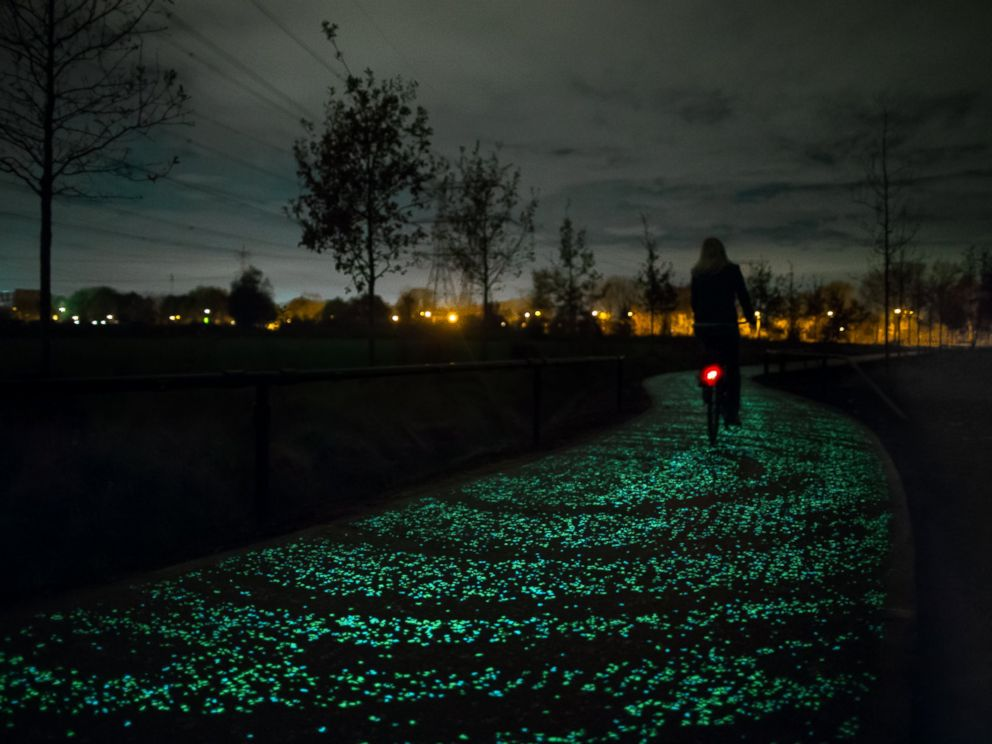 PHOTO: Artist Daan Roosegaardes design studio in the Netherlands has made the first glow-in-the dark bike path, modeled after Van Goghs Starry Night.